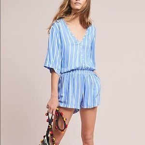 anthropologie beach gold romper